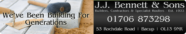 Advertising banner for J.J. Bennett & Sons Builders