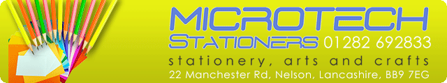 Advertising banner for Microtech Stationers