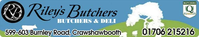 Advertising banner for Riley's Butchers in Rossendale